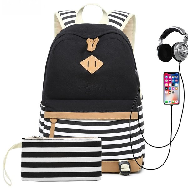 3 color options Canvas Stripe Backpack Fits 17.7 Inch Laptop with USB Port Charge 1 Handbag Bag city travel high-quality #7