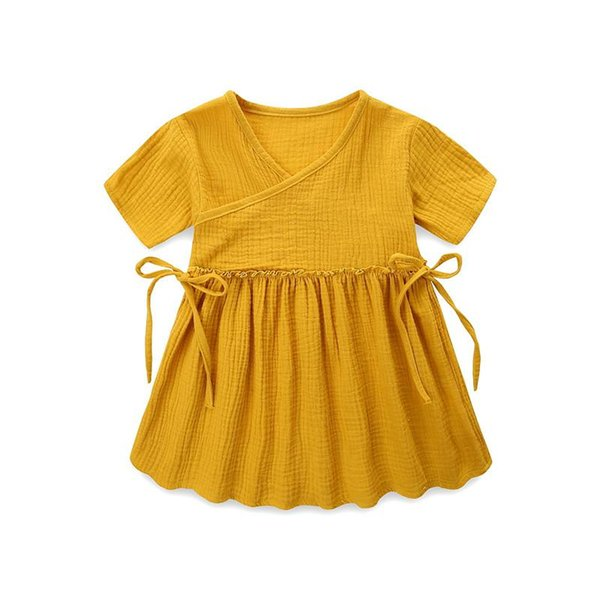Linen Cotton Baby Girls Dresses Toddler Kids Girl Dress Casual Clothing Ruffles Sweet Princess Children Clothes