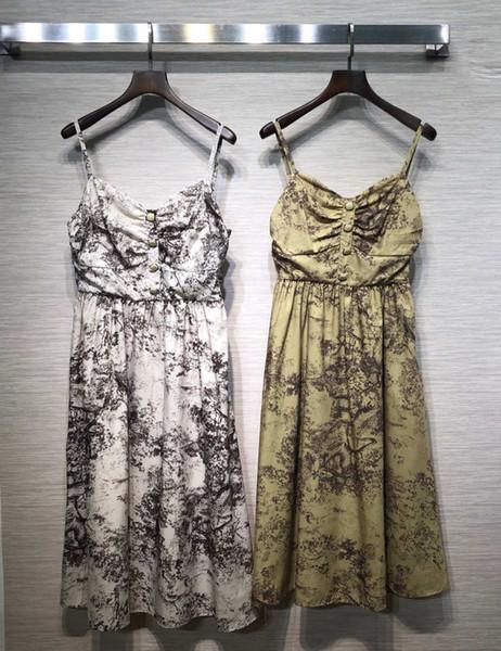 Женское платье модный повседневный костюм в стиле ретро с принтом летнее платье с ремешком 2019