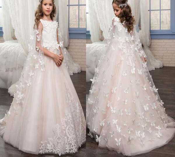 2019 New Arrival Lovely Lace Flower Girl's Dresses Long with long wraps jewel Neck Ball Gown Handmade Butterflies Girl's Pageant Dresses