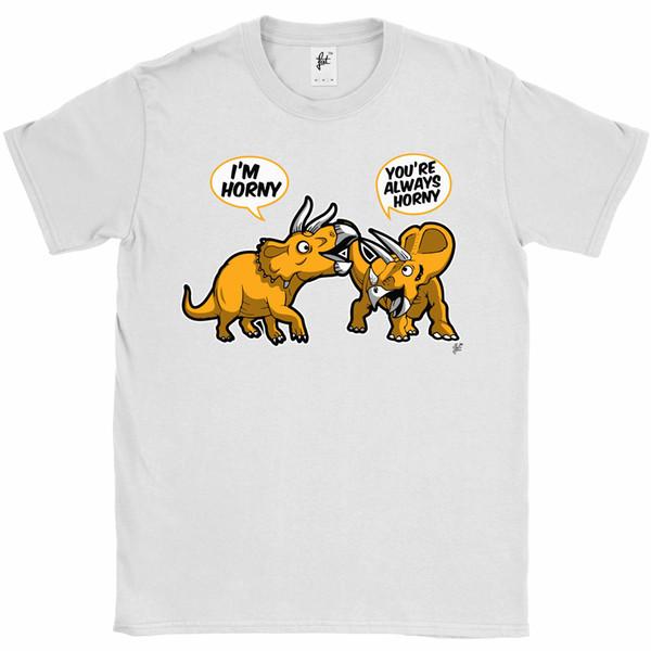 Toujours corné paire de dinosaures Triceratops à cornes Mens T-shirtsize discout chaud nouveau tshirt top livraison gratuite t-shirt