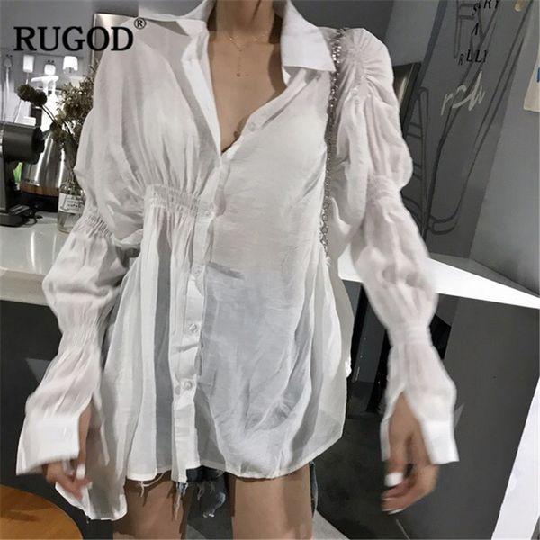 Les femmes de style coréen RUGOD chemisier blanc Fashion Turn-down col dames de bureau mannequin portent des tops et des chemisiers de femme élégante