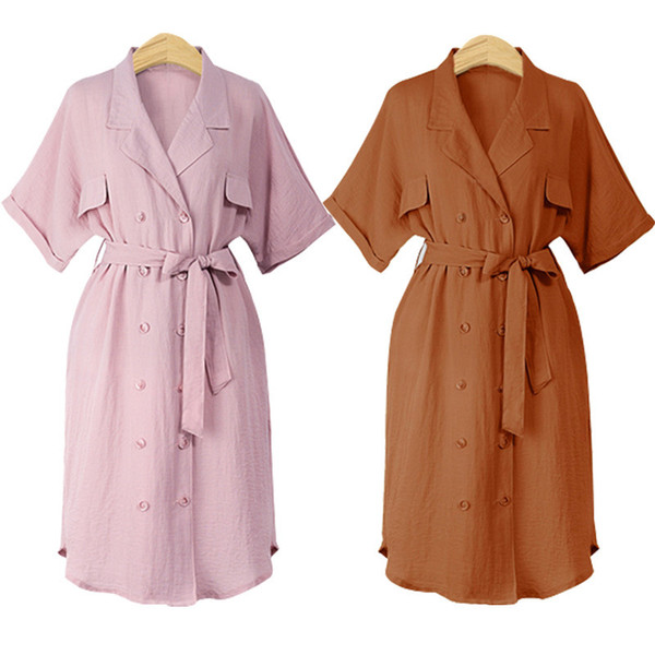 2019 summer fasion plus size women's dresses loose short-sleeved double-breasted casual shirt dress pink ladies streetwear womens clothes