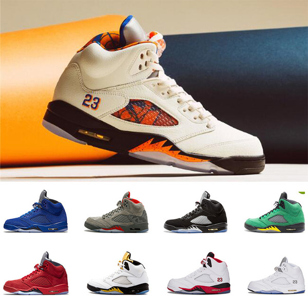 5 5s V Basketball Shoes International Flight-ORANGE PEEL red blue suede Camo Bred mens casual shoes desinger trainers sneakers 7-13