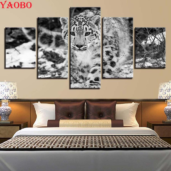 5 PCS Diamond Embroidery Full Display 5D DIY Diamond Painting Forest Tiger Snow scenery Full Square Mosaic Picture Rhinestone