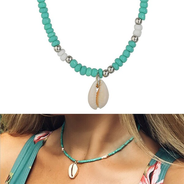 Boho Seashell Choker Necklace For Women Shell Collar Conchas Green Red Blue Stone  Gold Chain Crystal Necklace Jewelry