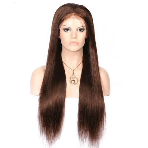 Largo medio marrón lleno de encaje pelucas de cabello humano Virgin Malasia recta peluca delantera del cordón del pelo humano con el color del pelo del bebé # 4