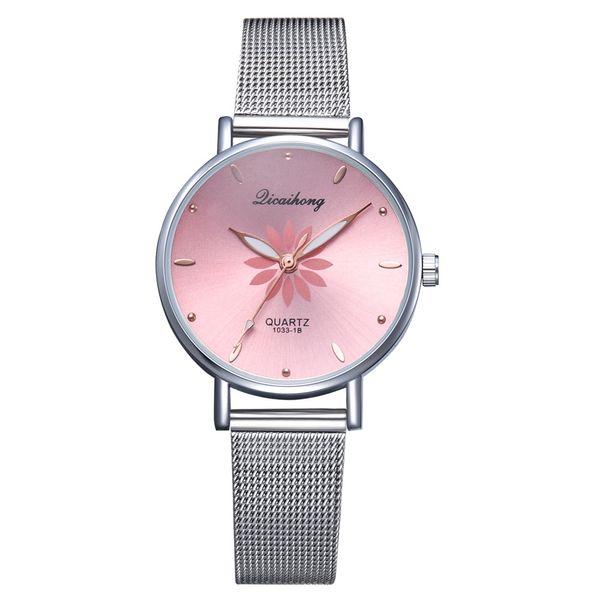Mulheres Relógios De Pulso De Luxo De Prata Popular Rosa Dial Flores De Malha De Metal Senhoras Pulseira Relógio De Pulso De Quartzo Moda Relógio De Pulso