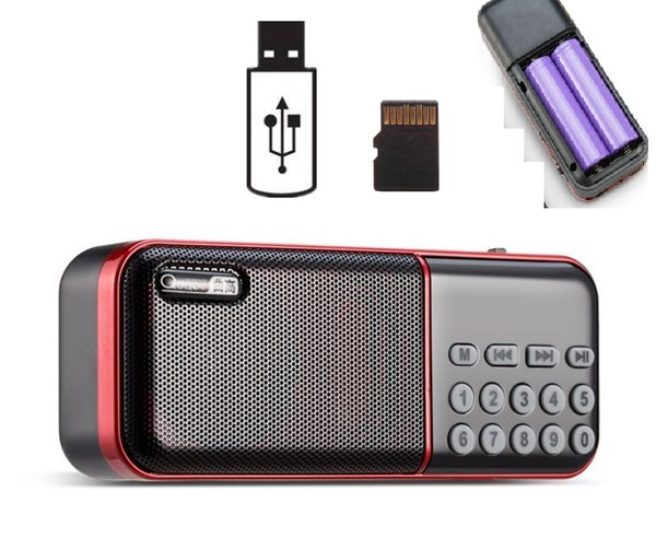 top popular Pocket FM Radio Mini Portable Rechargeable Radio Receiver Speaker with 2 Batteries Flash Light Support TF Card Music MP3 Player 2021