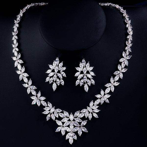 UILZ Exquisite Cubic Zirconia Conjuntos de Jóias de Noiva Forma de Flor de Cristal Brincos E Conjuntos de Jóias de Colar Para Noivas US166