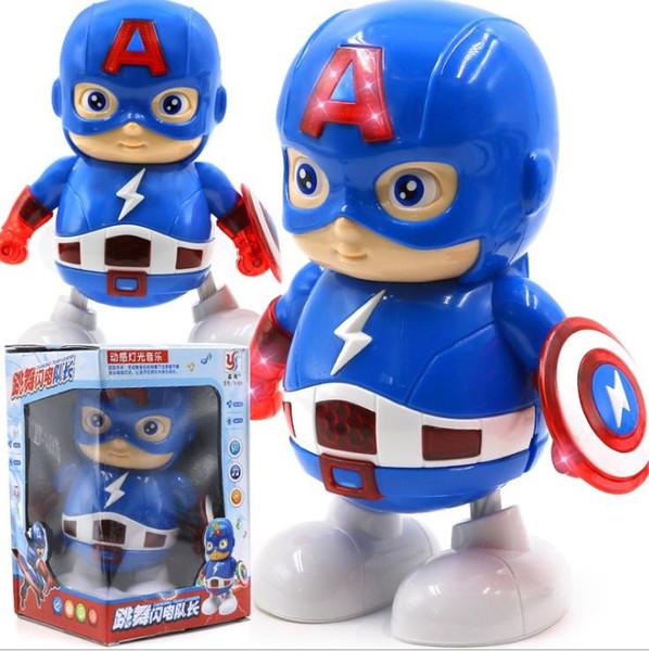 LED Oyuncak Marvel Avengers Son Oyun Süper Kahramanlar Kaptan Amerika ile açtı ve müzik Mech Modeli Oyuncak Toplama Eylem çocuk oyuncakları Şekil dans