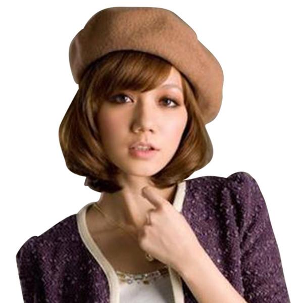 Laamei Color sólido Boina de niña de las mujeres Negro Blanco Gris Rosa Boinas De Mujer Artista francés Mujer Lana cálida Beanie Hat de invierno C19010801