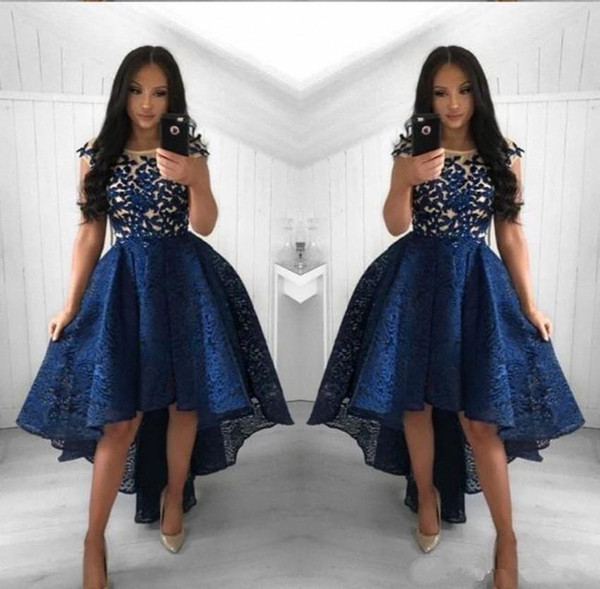 2019 Navy Blue Lace Cocktail Dresses A Line Crew Neck High Low Short Party Prom Gowns Homecoming Dresses Arabic Vestidos