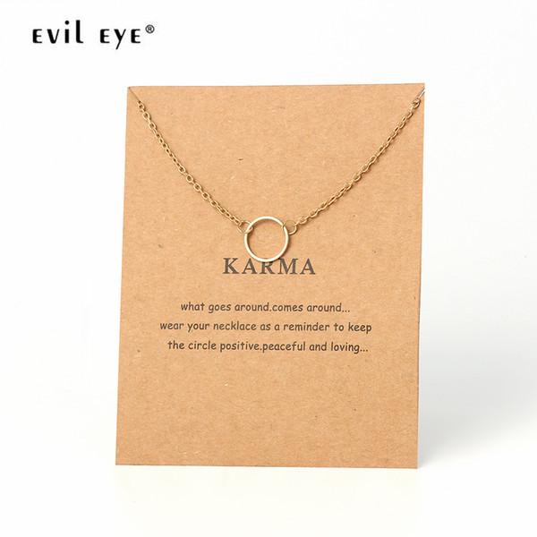 Mal Karma Rodada Alloy Charme Declaração Colar Links Cadeias Para Mãe Mãe Handmade Jóias Presentes EY439