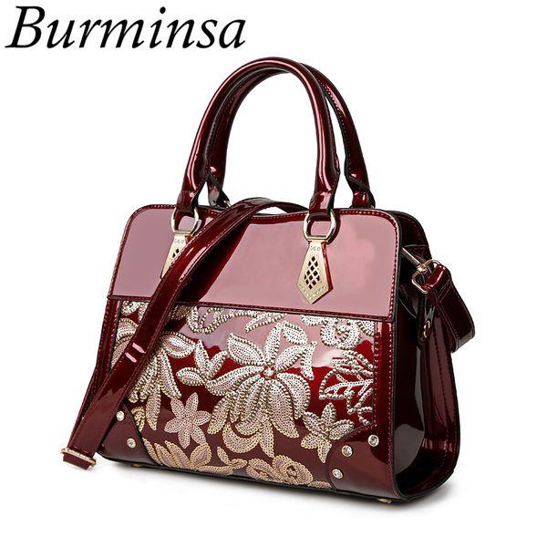 2019 Fashion Burminsa Glitter Flower Women Patent Leather Handbags Female Shoulder Bags Ladies Lacquered Diamond Purse Wedding Messenger