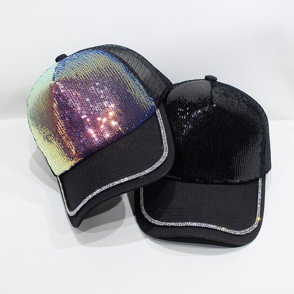 HT2349 New Mesh Baseball Cap Men Women Snapback Cap Hat Ladies Fashion Paillette Sun for Men Women Summer Driver Trucker