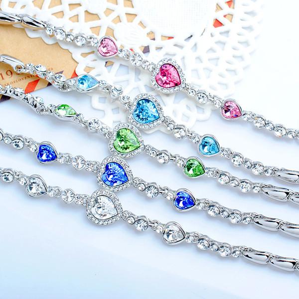 Bracelets Coeur du diamant de cristal en forme de coeur austrian cœur de l'amour de la mer cœur swarovski accessoires de mode bracelet bracelet
