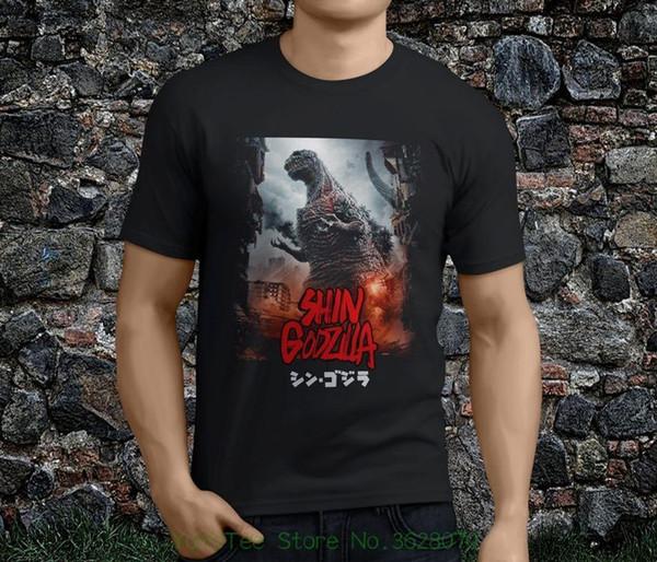 Camiseta Estampada para hombre 100% Algodón Nueva Caliente Popular Shin Godzilla Resurgence Japón Monstruo Negro Camiseta de Hombre S - 3xl