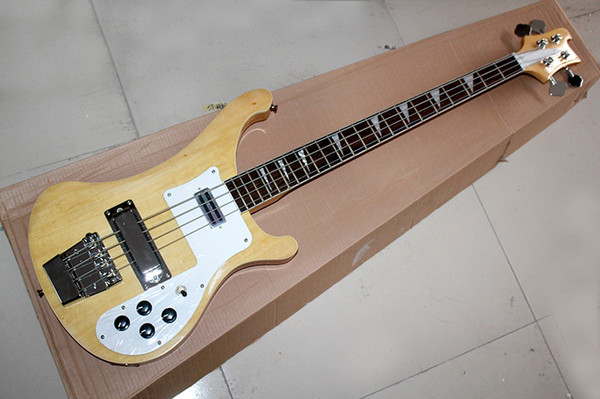 top popular Factory Custom Natural Wood Color Electric Bass Guitar with White Pickguard,Rosewood Fingerboard,Chrome Hardware,Offer Customized 2021