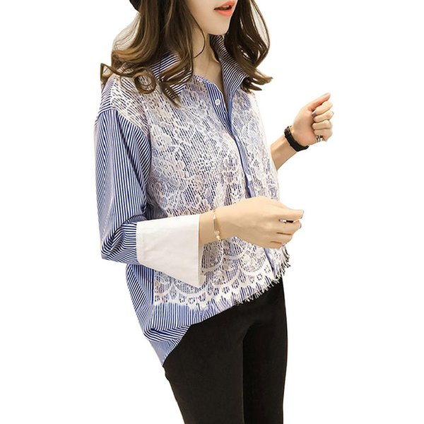Striped Three Quarter Sleeve Korean Lace Trim Patchwork Turn Down Collar Women Tops Casual Loose Shirt Blouses Female Streetwear