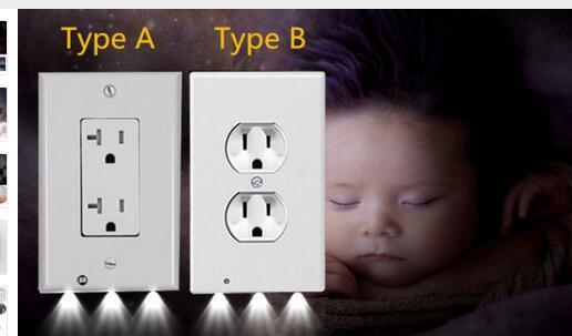 Fiş Kapak LED Gece Lambası PIR Vücut Hareket Sensörü Aktif Güvenlik Işık Melek Duvar Outlet Koridor Yatak Odası Banyo Gece Lambası II-928