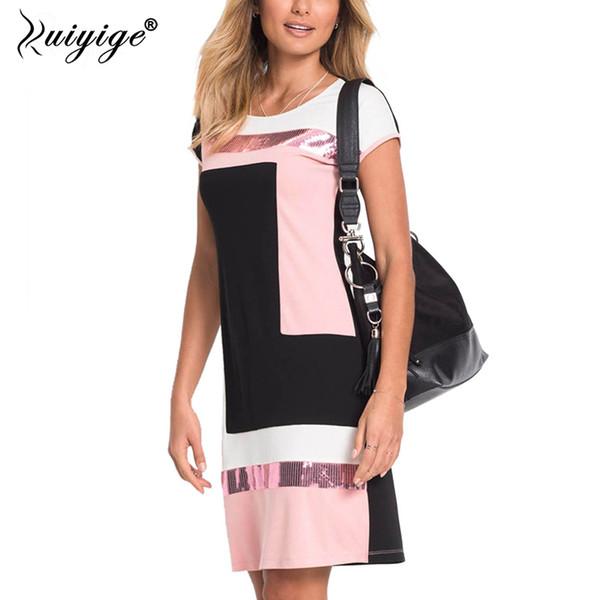Ruiyige 2018 Frauen Täglich Etuikleid Sommer Oansatz Pacthwork Vestidos Mantel Kontrast Pailletten Midi Roben Prom Arbeitskleid Falda J190511
