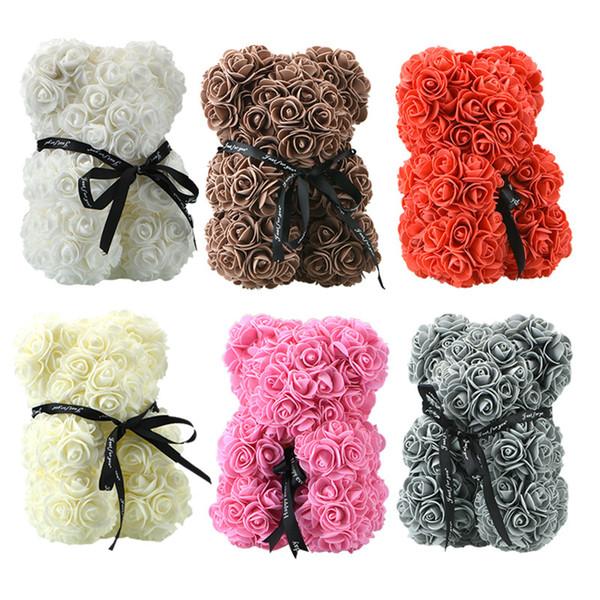 Presale 24cm Seifenschaum Bär Roses Teddybär Rose Blume Künstliche Kinder Frauen Valentines Geschenk Weihnachten Neujahr Geschenke