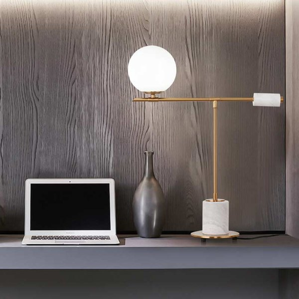 Nordic Struttura tabella ha condotto la lampada di vetro del paralume luce Fixtrues moderna camera da letto Bedside Decor Illuminazione pietra metallo G9 lustro 85-265V