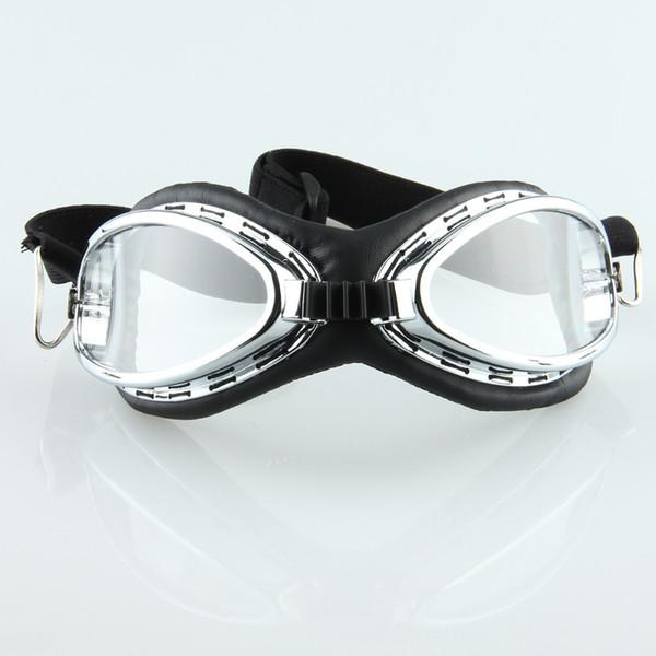 Großhandel Vintage Motorradbrille Helme klar Motorrad Radfahren Motocross Skifahren Sport Schneebrille Cafe Racer Sonnenbrille
