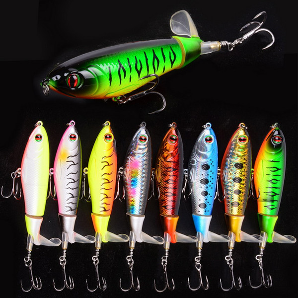 best selling Whopper Plopper 105mm 17.2g Artificial Top Water Fishing Lure Artificial Hard Bait Poper Wobbler Rotating Tail Fishing Tackle 3D Eyes