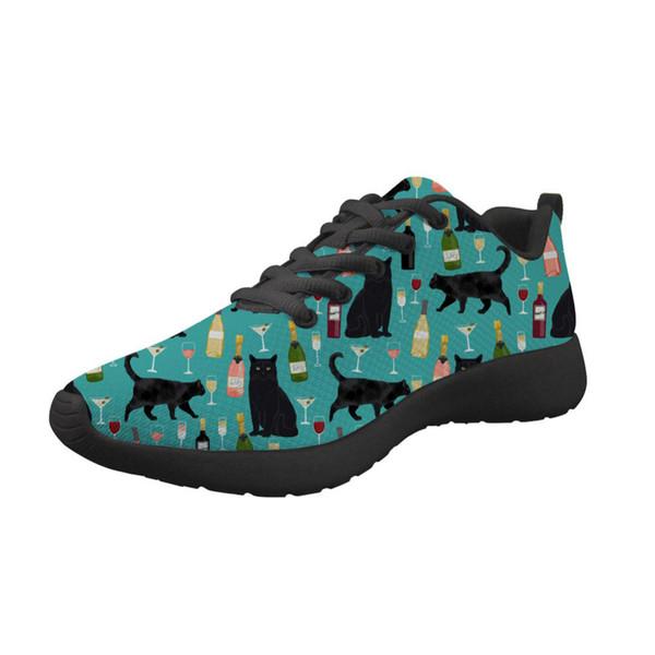 Sneakers donna Espadrillas Black Cat Stampa vino Lace Up Scarpe casual Scarpe piatte comode Infermiera Zapatillas Mujer