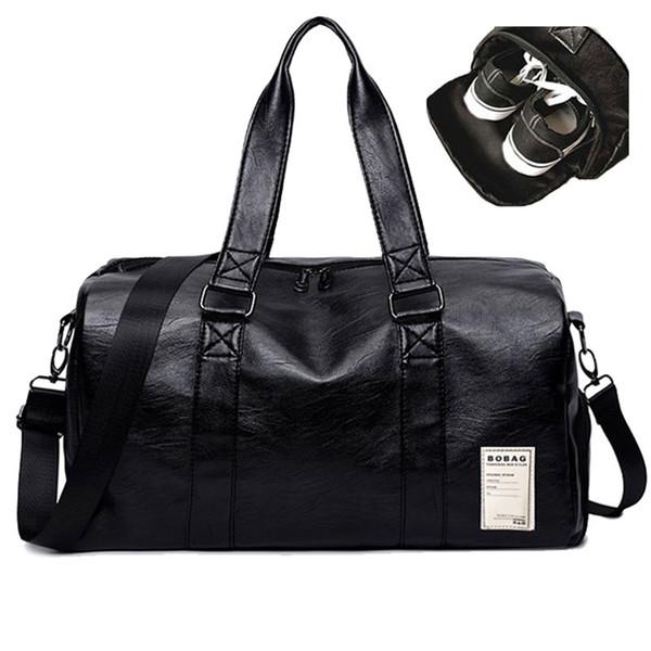 Черные ПУ кожаные вещевые сумки унисекс Спорт на открытом воздухе большой емкости дорожные сумки с независимым хранения обуви