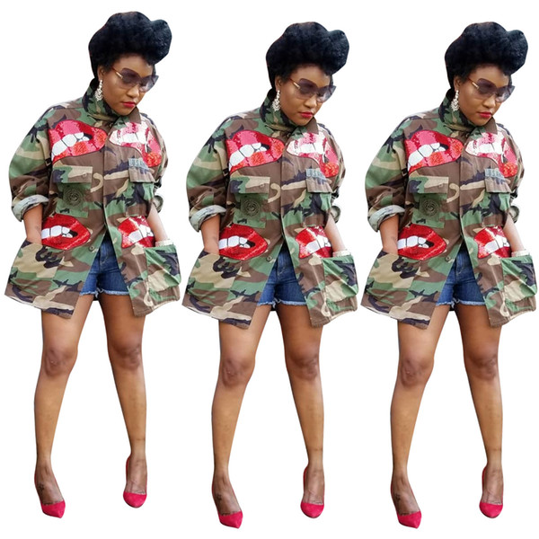 best selling Newest Styles Autumn Women Camouflage Coats Red Sequins Cute Pattern Long Sleeves Big Pockets Fashion Lady Jackets Casual CoatsOutwear 2020