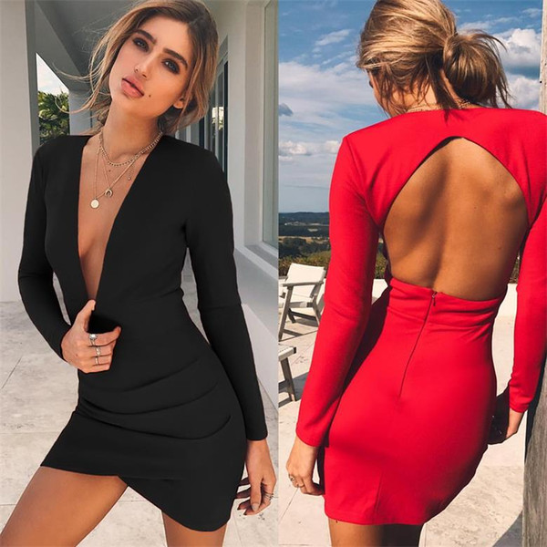 2018 Hot New Deep V Sexy Slim Dress Women Backless Long Sleeve Black Red Dresses High Fashion Casual Bodycon Dresses Tight Pencil Skirt
