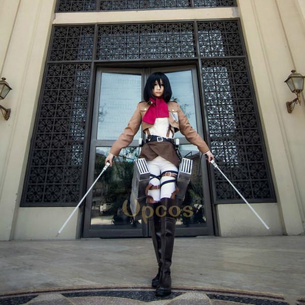 2019 Attack On Titan Cosplay Shingeki No Kyojin Mikasa Ackerman Cosplay Costume Women Halloween Costumes Full Setmx190923 From Pu04 154 56