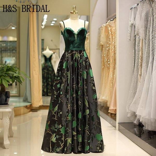 H&S BRIDAL Long prom dresses Pattern Satin Sweep Train Woman formal Evening Dresses vestidos prom party gowns