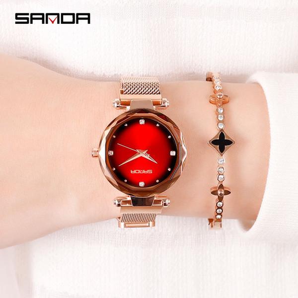 sanda new korean fashion student diamond female watch gradient color magnet waterproof lazy watch sport womens watches