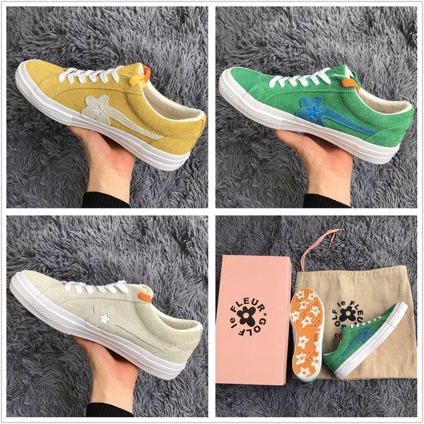 2018 The Creator One Star x Golf Le Fleur TTC Mens Women Yellow Green Skateboard Fashion Sneakers Designer Canvas shoes(2 Laces,Box)
