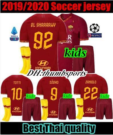 Roma kit enfant maillot de foot 19 20 domicile rouge EL SHAARAWY CENGIZ SOUS DE ROSSI TOTTI 2019 2020 DZEKO ensemble garçon chemise PELLEGRINI