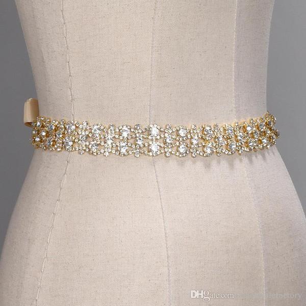 Fait à la main en cristal Ceintures de mariage d'or d'argent strass mariage robe de ceinture Accessoires de mariage formel ruban de mariée Sash Ceinture CPA1393