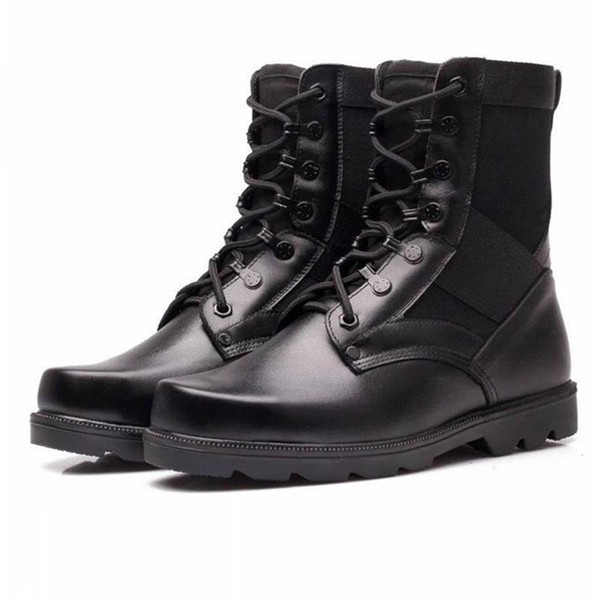 Spring Genuine Leather Mens Military Boots For Man Steel Toe Army Boots Tactical Lace Up Cowboy Combat Boots 2019 New Fashion Black