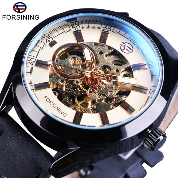 Forsining Open Work Series Military Automatic Wrist Watch Genuine Leather Belt Men Skeleton Watches Top Brand Luxury Mechanical