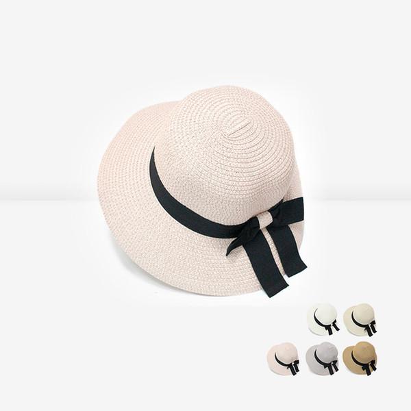 Mulheres Chapéu de Verão Praia Chapéu De Palha com Banda Panamá Tampão Das Senhoras Moda Handmade Casual Plana Brim Bowknot Chapéus de Sol VT0134