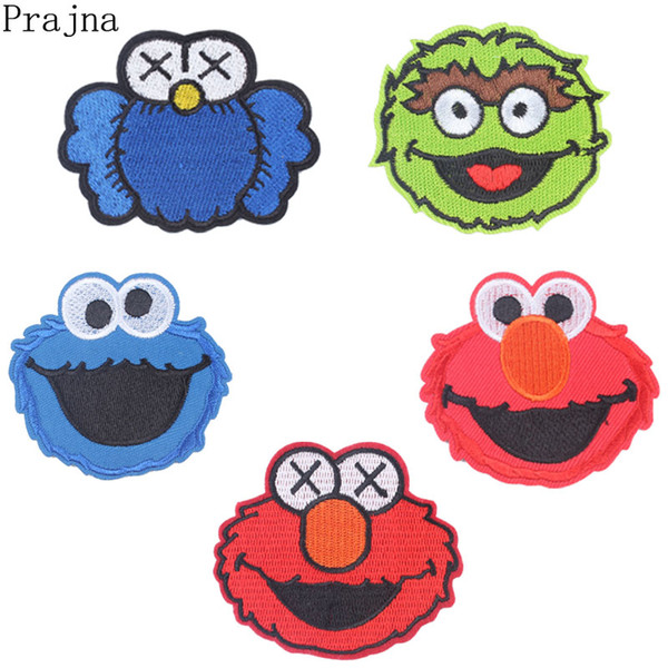 2019 Prajna Anime Sesame Street Patch Cookie Monster Elmo Big Bird Cartoon Ironing Patches Cheap Embroidered Patches For Kids Clothes From Pingwang3