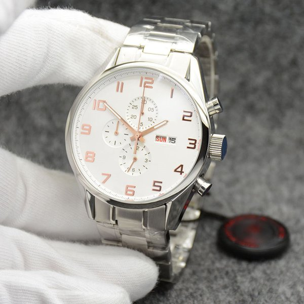 Outdoor 43.5MM Quartz Chronograph Accurate Mens Watches Watch Silver Case White Dial With High Grade Stainless Steel Bracelet