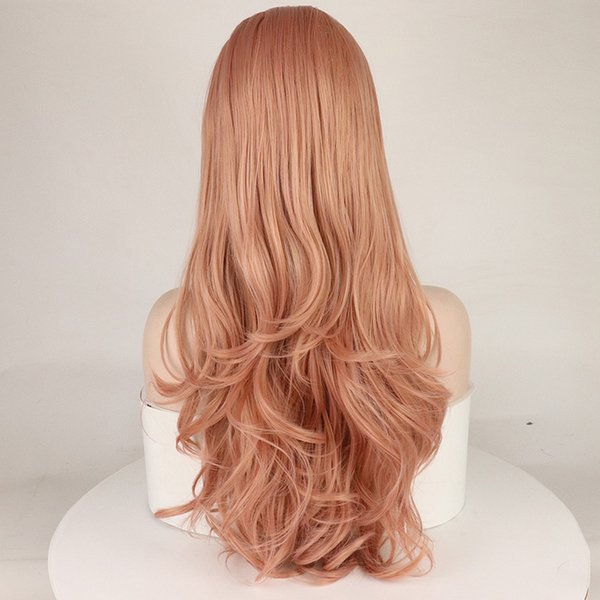 2019 Lace Front Wigs Long Pink Wig 26 Rose Blonde Middle Part Glueless Synthetic Wig With Natural Body Wave For Wome From Lin06 8342 Dhgatecom