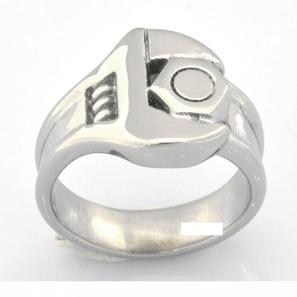 Custom made stainless steel vintage mens or wemens jewelry MOTORCYCLE REPARING TOOLS SCREW NUT SPANNER WRENCH BIKER RING FSR13W97