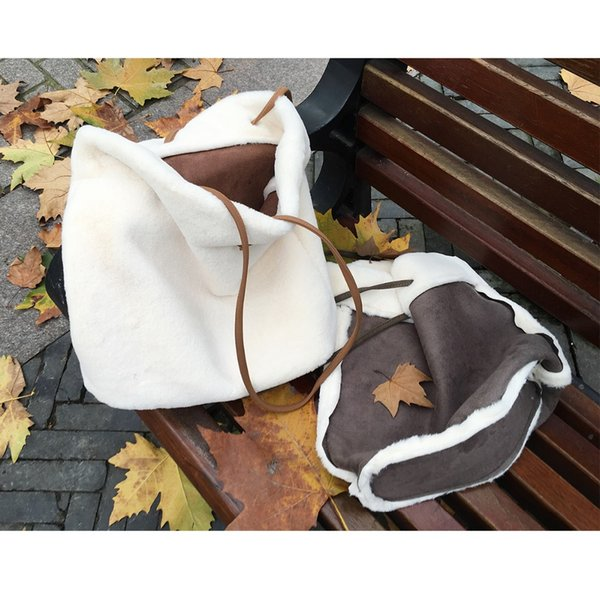 Double-sided use Patchwork Fur Wool Tote Bags Korean Girls Retro Causal Daily Handbags For Teenager Suede Shoulder Bags