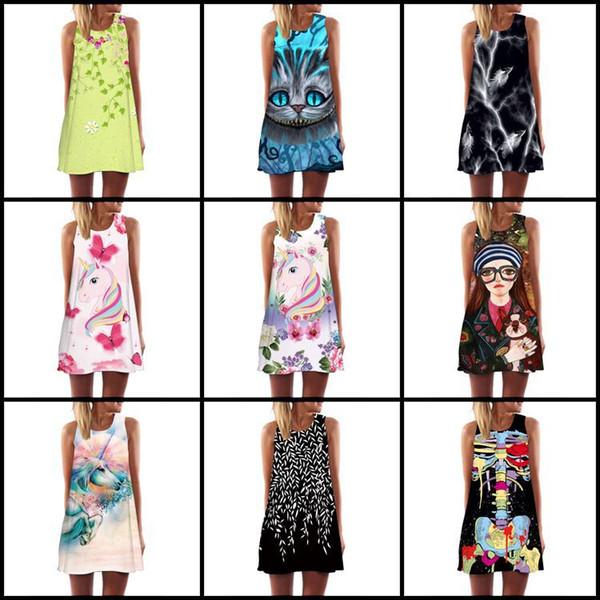 Eur tamanho flamingos crânio dress mulheres new mangas vestidos de praia verão 2019 acima do joelho estilo boho vestidos de festa clube curto