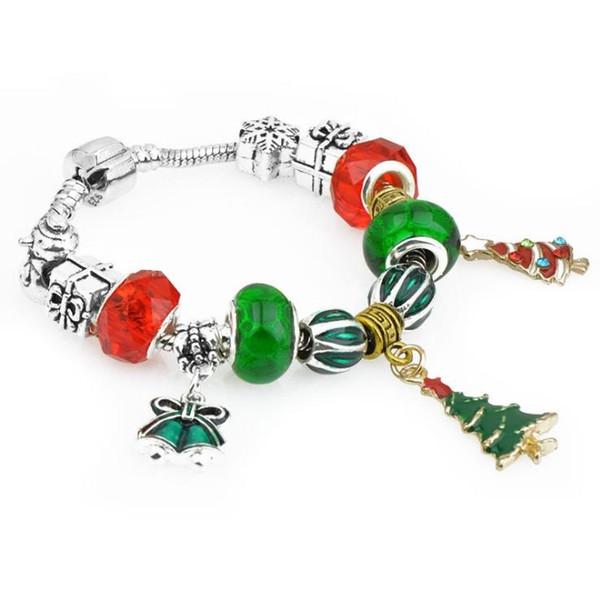 Pandor nuevas pulseras de estilo étnico de regalo de Navidad pendiente del árbol de Navidad creativo DIY pulseras 17 18 19 20 21 perlada